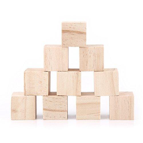 10pcs natural cubos de madera cuadrado bloques madera Craft accesorio 25mm