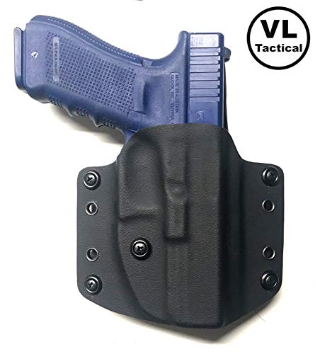 VLTactical OWB Black Kydex for Glock 17/22/31 or Glock 19/19X/23/25/32 or Glock 26/27 or Glock 42 or Glock 43/43X with Leather Inside (for Glock 19/19X/23/25/32, with Black Leather Inside)