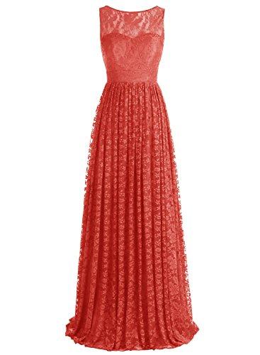 Bbonlinedress Robe de cérémonie et de demoiselle dhonneur florale dentelle broderie sans manches col rond longueur ras du sol en tulle Rouge