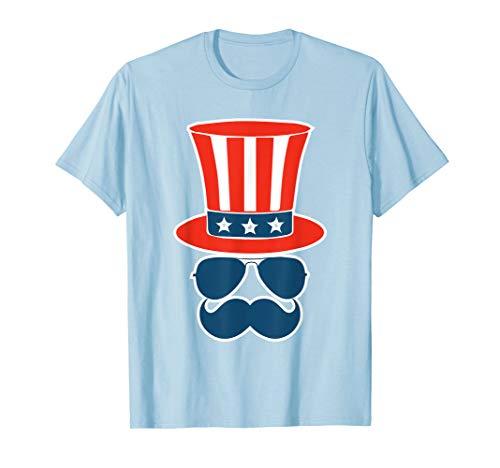 Amerikanischer Flieger-Sonnenbrille Schnurrbart 4. Juli T-Shirt