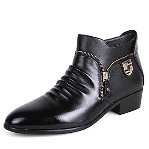 Herren Oxfords Mode Bootie Komfort High Top Leder Schuhe Hochzeit Schuhe Party Abend Flache Ferse Reißverschluss Schwarz,Black-38 (Ferse Reißverschluss)