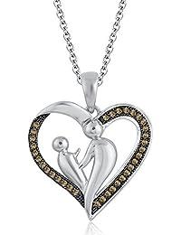 Silvernshine 18K White Gold Over Citrin Sim Diamond Accent Mother & Child Heart Pendant Necklace