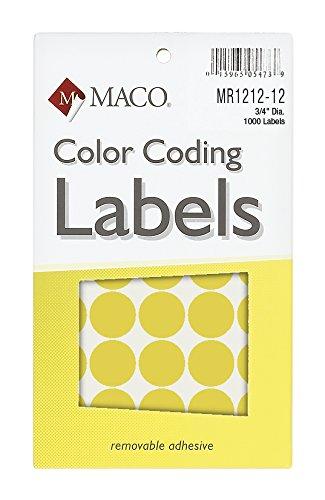 Material Neon Amarillo Redondo codificación de Color etiquetas, 3/4pulgadas de diámetro, 1000por caja (mr1212–12)