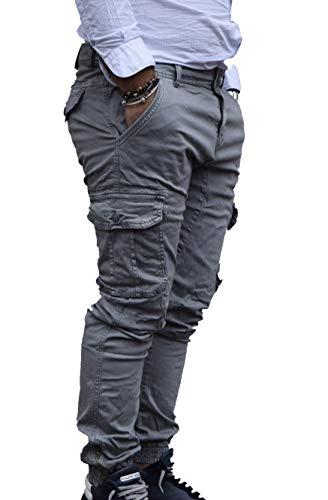 Antony morale pantalone con i tasconi invernale uomo slim 2 colori (blu, verdone) (50, grigio)