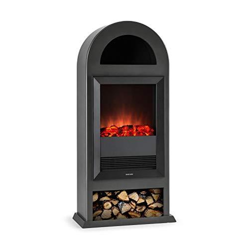 Klarstein Blockhouse • Elektrischer Kamin • Kaminfeuer • Elektrokamin • Rauchfrei • Flammen-Effekt mit Deko-Holz • 4 Schalter • freistehend • zuschaltbare Heizleistung 1000-2000W • matt schwarz