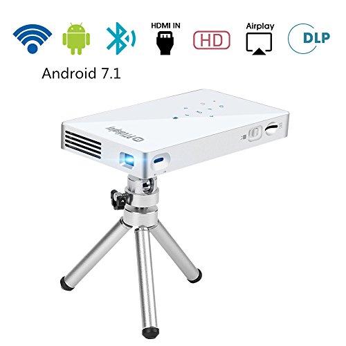 PTVDISPLAY Tragbarer Mini Beamer, 1080P Android 7.1 Wifi Smart Pocket-Videoprojektoren, 100ANSI DLP-Pico-Projektor mit Bluetooth/Auto Keystone Full HD Heimkino Projektor Unterstützt HDMI USB TF 130