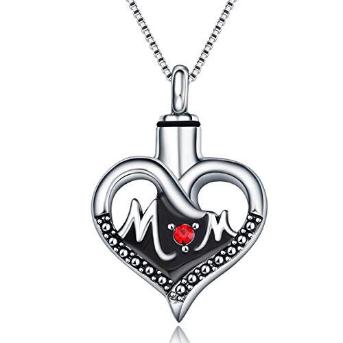 Quiges Edelstahl Memorial Urn Anhänger Esche Halter Mama Herz für Einäscherung mit verstellbare Halskette 46-52cm