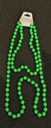 London Best Fancy Kostüm Dress - 80s style 48in plastic neon green bead necklace by Wicked