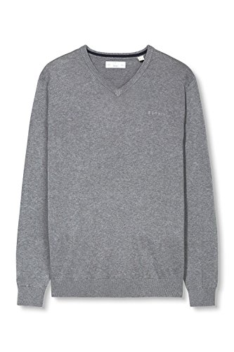 ESPRIT Herren Pullover Basic-Regular Fit Grau (MEDIUM GREY 035)