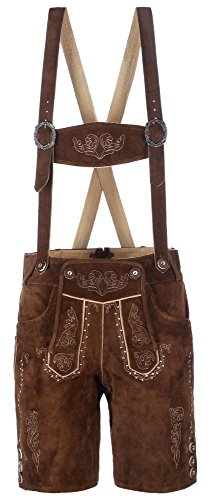 hochwertige kurze Herren Trachten-Lederhose aus Echtleder mit traditioneller Stickerei, braun/mittelbraun, Größe 48