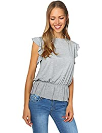 KRISP® Women Ladies Ruffle Frill Sleeve Loose Fitted Jersey T Shirt Top Casual Blouse