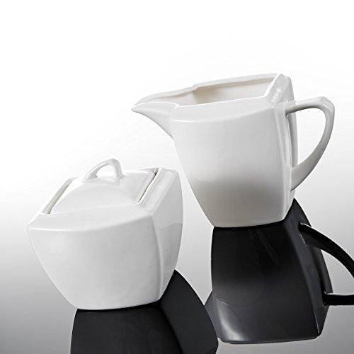 MALACASA, Serie Blance, 3-teilig Porzellan Milch und Zucker Set mit Deckel, Milchkännchen Zuckerdose Milch- & Zuckerbehälter Küchenhelfer