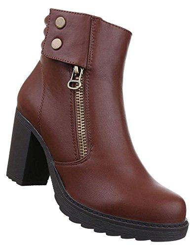 Damen Stiefeletten Schuhe Boots Schwarz Braun 36 37 38 39 40 41 Braun