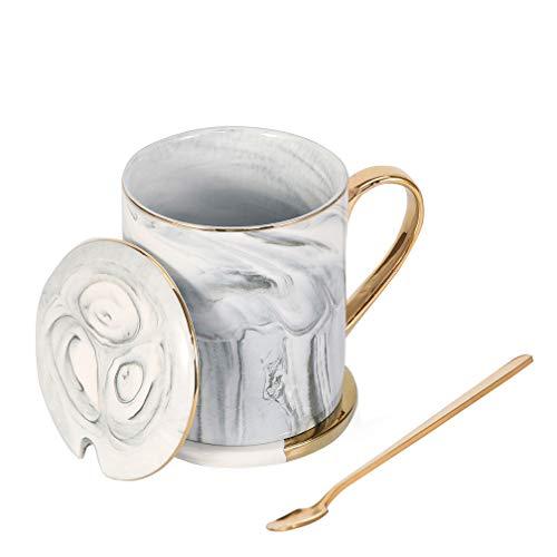 ALODZ Porzellan-Tasse mit Deckel und Löffel, Diagonale Linie, ca. 400 ml, weiße Jade, mit Deckel und Löffel, Geschenk-Box für Kaffee, Tee, Milch, Wasser, Wein, Wodka, Jade