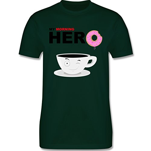 Küche - My morning hero - Coffee - Herren Premium T-Shirt Dunkelgrün