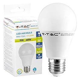 9x Lampadine LED V-Tac VT-2112 E27 11W Opaca (1055 lumen equivalenti a 75W) Forma: Goccia A60 Luce Bianco Caldo 2700K – Fascio Luminoso 200° + Sdoppiatore Omaggio