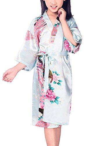 Dolamen Kinder Mädchen Morgenmantel Kimono Satin Nachtwäsche Bademantel Robe Peacock Blume Negligee Schlafanzug Schwimmen Hochzeit Geburtstag (Größe 14(Höhe 145-160cm (57