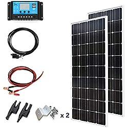 XINPUGUANG 200w Panneau solaire monocristallin 2pcs 100w 18v module de kit solaire de grille pour chargeur de caravane de toit de maison de bateau (200w-1)