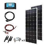 XINPUGUANG 200 W Kit 2 pcs 100 Watt 18 V Panneau Solaire Mono Photovoltaïque Module 20A Contrôleur pour Car Caravan Home Garden 12 v Batterie Chargeur...