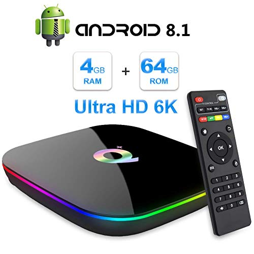 Android 8.1 TV Box,2019 Android Box 4GB RAM 64GB ROM H6 Quadcore Cortex-A53 Smart TV Box Unterstützt 6K 3D Auflösung 2.4GHz WiFi,10/100M Ethernet Player Multimedia,USB 3.0