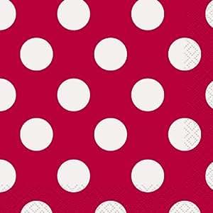 Unique Party - 30424 - Paquet de 16 Serviettes - Papier à Pois - 13 cm - Rouge