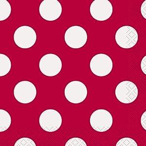 Unique Party- Paquete de 16 servilletas de papel a lunares, Color rojo, 30424)