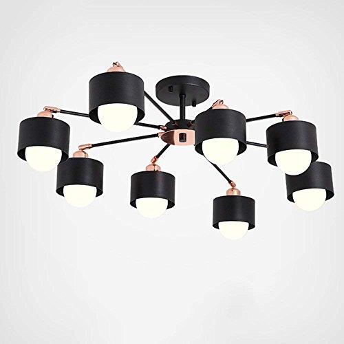 6/3 Lite Kronleuchter Lampe (HYW Nordic-Stil kreative Schwarze postmoderne hölzerne Lampe Körper Eisen Lampenschirm Kronleuchter Wohnzimmer 3/6/8-Lampe - Innenbeleuchtung Kronleuchter,Warm-light-8-lights)