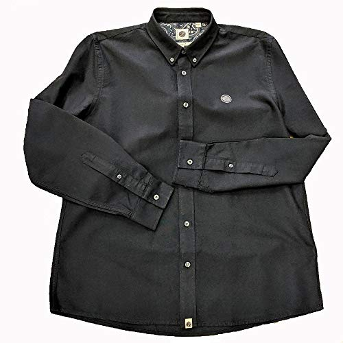 Pretty Green Classic Fit Oxford Shirt in Black XX Large - Woven Long Sleeve Button