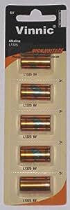 5 Vinnic L1325 6V Batteries in Vinnic Packaging (1 Blister Pack of 5)