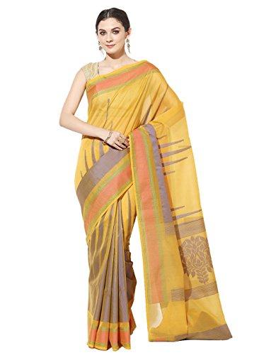 Banarasi Silk Works Supernet Cotton Saree With Blouse Piece(PTE112_Yellow_Free Size)
