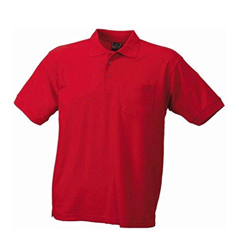 Herren Pique Polohemd mit Brusttasche Polo Shirt Red