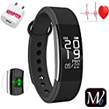 MOVO® Certified Bluetooth Active Fit F1 Fitness Band With Heart Rate Sensor Smart Band And Fitness Tracker| Sleep Monitor|Pedometer| Message Push| Call Alert| Time With Suitable Charging Adopter (only With Movo Band) Black Colour