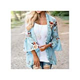 TNGWA& 3XL Women's Shirt Autumn Chiffon Coat Plus Size Open Stitch Loose Coats Bohemian Beach Lace Stitching Flare Sleeve Jackets Tops Sky Blue XL