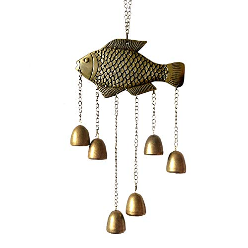 WOHAOKESHUI Windspiele Feng Shui Fish Bell Segen Fortune Hanging Wind Chime -