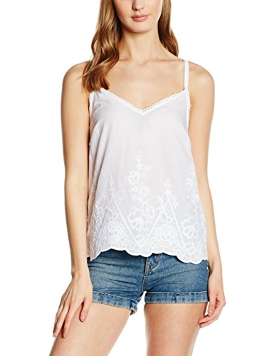 New Look Damen Top Cutwork Hem Weiß - Weiß