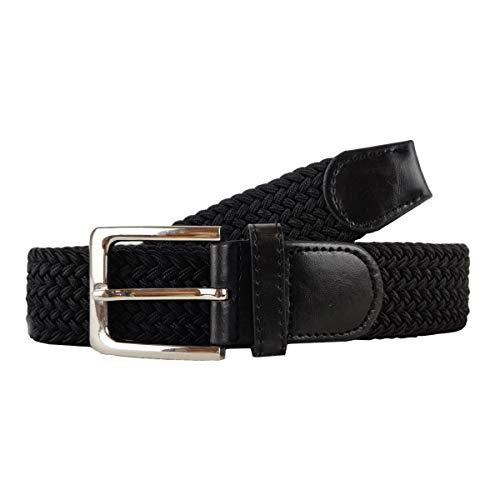 Cinturón trenzado elástico hombres mujeres unisex ancho 3,5 cm -Negro-110cm