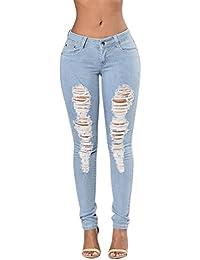 b4804da88e593 Semer Femme Pantalons Crayon Troué Denim Skinny Taille Haute Élastique Jeans  Déchiré Collants Élégant
