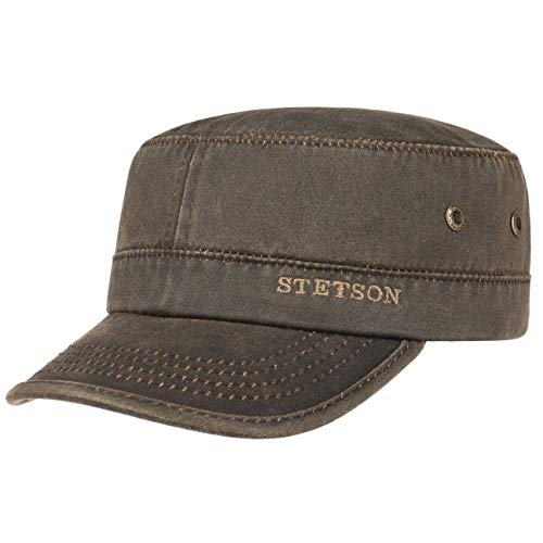 Stetson Casquette Datto Army Homme - Oilskin Urban avec étiquette Visiere, Visiere Printemps-ete - XL (60-61 cm) Marron