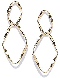 Thingalicious Hammered Interlinked Oval Gold Plated Earrings for Women