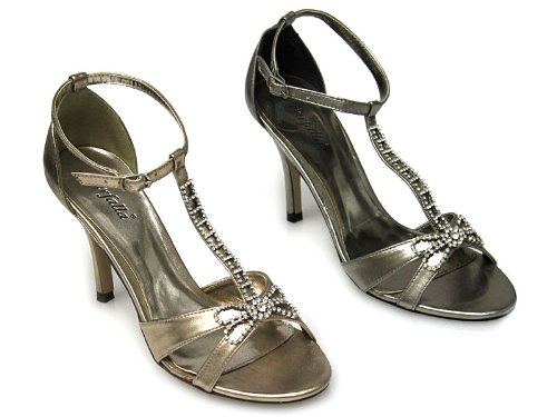 Diamante Court Shoes - 3'' Heel Pewter