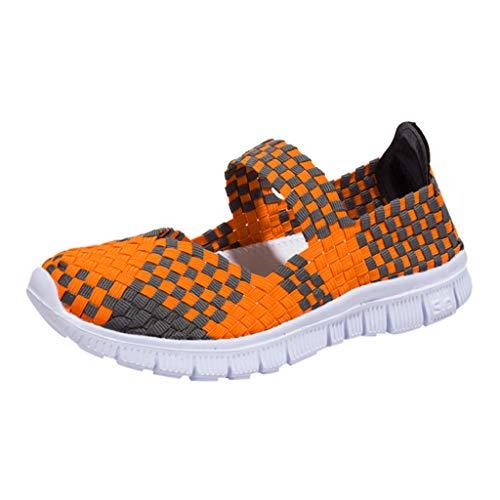 Frauen Damen Wasser Schuhe Woven Light Slip On Sportschuhe Casual Geflochtene Leichte Elastische GemüTlich Slip-On Loafers Turnschuhe Draussen Sport Wanderschuhe(Orange,35 EU)