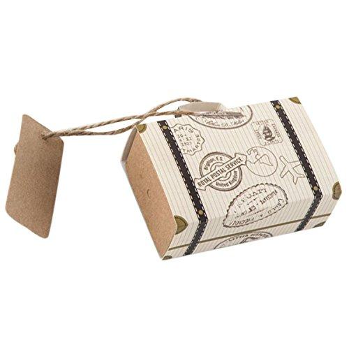 unst Candy Geschenk Box Mini Koffer Vintage Kraftpapier mit Tags und Sackleinen Bindfäden für Hochzeit Geburtstag Thema Party Dekoration 10er ()