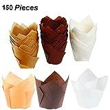 150pezzi Tulip tazze di carta da forno cupcake, muffin involucri, tazze da forno per muffin Tins Treat tazze per matrimoni, compleanni, baby Showers,-6,3cm (marrone, naturale e bianco)