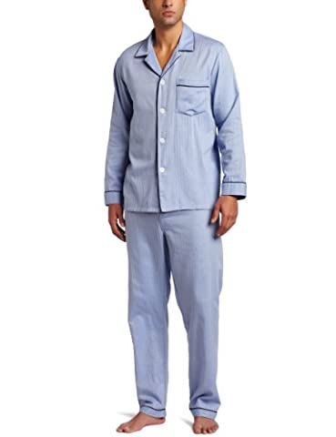 Majestic International Men's Signature Woven Cotton Pyjama Set, Blue,