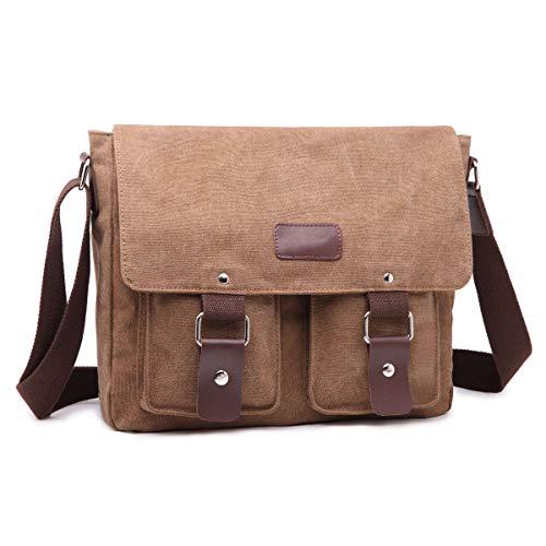 ERAY Umhängetasche 34x9x27cm, Schultertasche für 14 Zoll Laptop, Collegetasche/Messenger Bag/Schultertasche für Herren und Damen, Retro-Tasche, Khaki