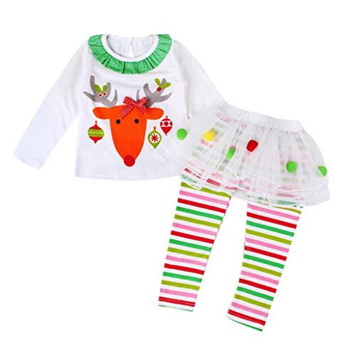 SUMTTER Weihnachten Kleidung Mädchen Rentier Kostüm für Neugeborenes Baby Kinder T-Shirt + Gestreifte Tüllrock Puffhose Christmas Outfit (T Shirt Kostüm Selbstgemacht)