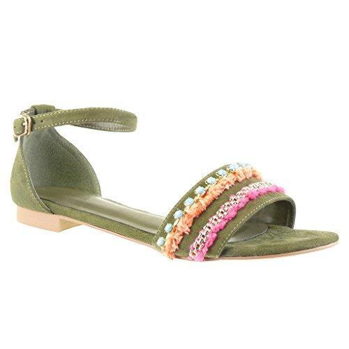 Angkorly - Zapatillas Moda Sandalias Mujer Joyas Pompom