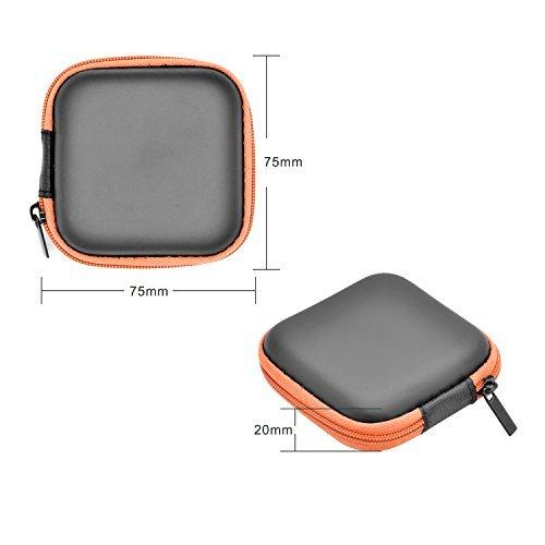 iProtect Schutztasche Hülle Box für Kopfhörer Ohrstöpsel u.A. / inkl. Netztasche in schwarz-orange