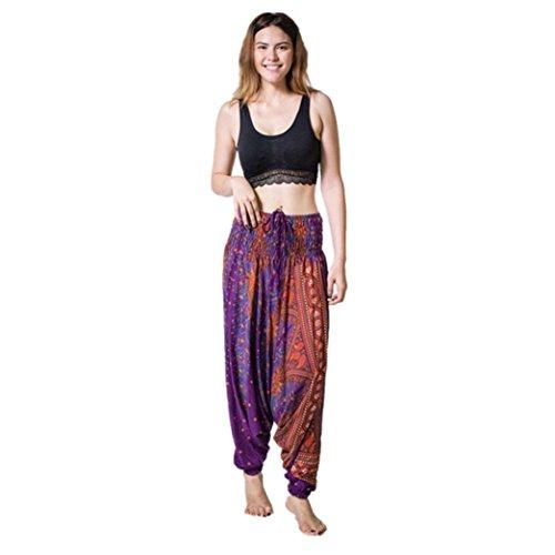 Pantalon de Sport ❤ Femmes leggings Fitness Yoga Pantalons athlétiques ❤ Pantalon Lâche purple