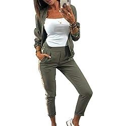 Minetom Femme Survêtement Ensembles Sportswear Sweat Casual avec Poche Zipper Combinaison de Sport Automne Hiver Manches Longues Jogging Paillette Veste Pantalons 2 Pièce Armée Verte 38